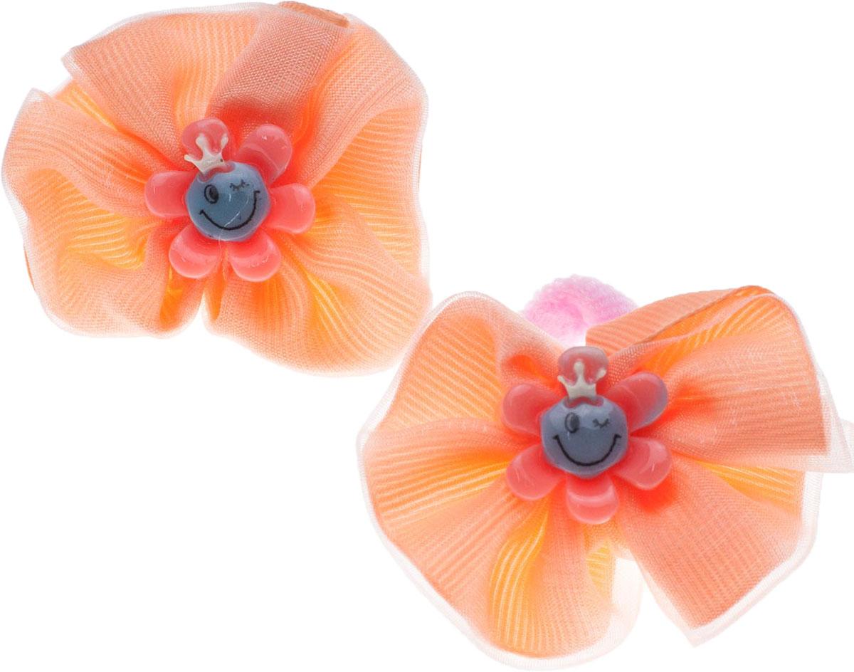 Резинка для волос Мастерская Крутовых, цвет: оранжевый, 2 шт. 14-30214-302Резинка выполнена из текстиля и украшена декоративными элементами. В комплекте 2 резинки.