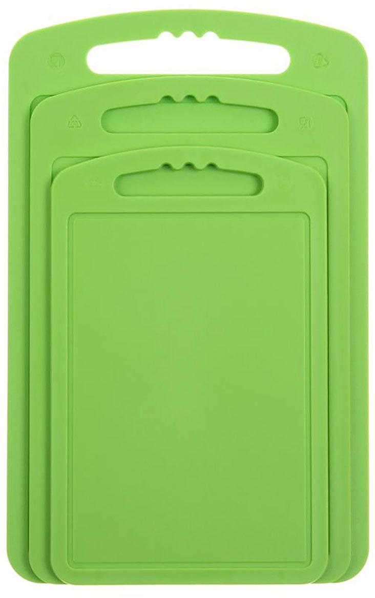Доска разделочная Martika, цвет: зеленый, 32 х 20 х 2 см, 3 шт sweet sleeveless scoop neck bowknot design polka dot dress for women