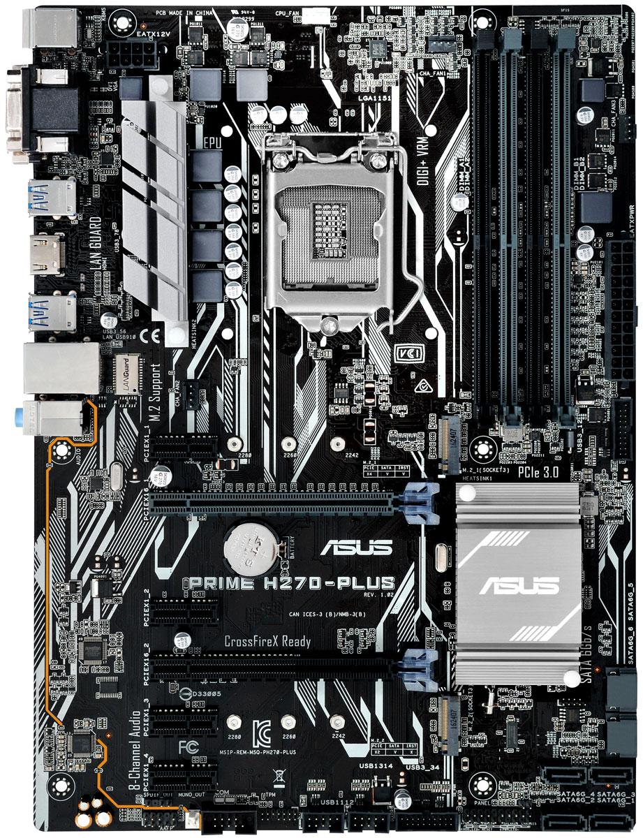 ASUS Prime H270-Plus материнская платаPRIME H270-PLUSASUS Prime H270-Plus - инновационная ATX-плата для платформы Intel LGA 1151 со светодиодной подсветкой, поддержкой памяти DDR4 2400 МГц и накопителей Intel Optane, двумя разъемами M.2, портами HDMI, SATA 6 Гбит/с и USB 3.0.В материнских платах ASUS серии Prime 200 реализован комплекс технологий 5X Protection III, который гарантирует использование лучших компонентов и схемных решений, а также соответствие современным стандартам для обеспечения непревзойденной надежности и длительного срока службы системы.Использование современных технологий и конденсаторов премиум-класса позволило увеличить пропускную способность сетевого интерфейса. В то же время, для защиты цепей LAN от перенапряжения, вызываемого статическим электричеством, применяются защитные цепи.В системе питания данной материнской платы используются стабилизаторы, обеспечивающие защиту от перепадов напряжения, которые могут возникнуть при использовании блоков питания не самого высокого качества.Для защиты от электростатического разряда ASUS использует специальную защитную схему, способную выдерживать разряд до 10 кВ через воздух и до 6 кВ при контакте.Материнские платы ASUS – высоконадежные продукты. Их надежность обеспечивается тщательными испытаниями, включая свыше 8000 тысяч часов тестирования. Среди таких испытаний – температурные испытания, тестирование совместимости и ПО, испытания на надежность. Материнские платы ASUS демонстрируют уровень надежности, который превышает индустриальные стандарты.С данной моделью пользователь получает сразу четыре порта USB 3.0 на передней панели системного блока. Каждый из них обеспечит в несколько большую пропускную способность по сравнению с USB 2.0! Как собрать игровой компьютер. Статья OZON Гид