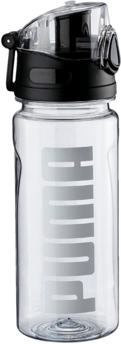 Бутылка для воды мужская Puma TR Bottle Sportstyle, 0,6 л05337002Спортивная бутылка от Puma – ваш надежный и незаменимый компаньон на пробежке, на прогулке и в спортивном зале! Она снабжена кнопкой для открывания одной рукой, которая может блокироваться для предотвращения случайного открывания, имеет крышку с удобным носиком, облегчающим процесс питья, и украшена печатной надписью Puma спереди. Также имеется пластиковый крюк, с помощью которого фляга может крепиться к поясу, либо этот крюк используется в качестве ручки для переноски. Прозрачный материал, из которого фляга изготовлена, позволяет видеть, насколько она заполнена.Емкость бутылки: 600 мл.