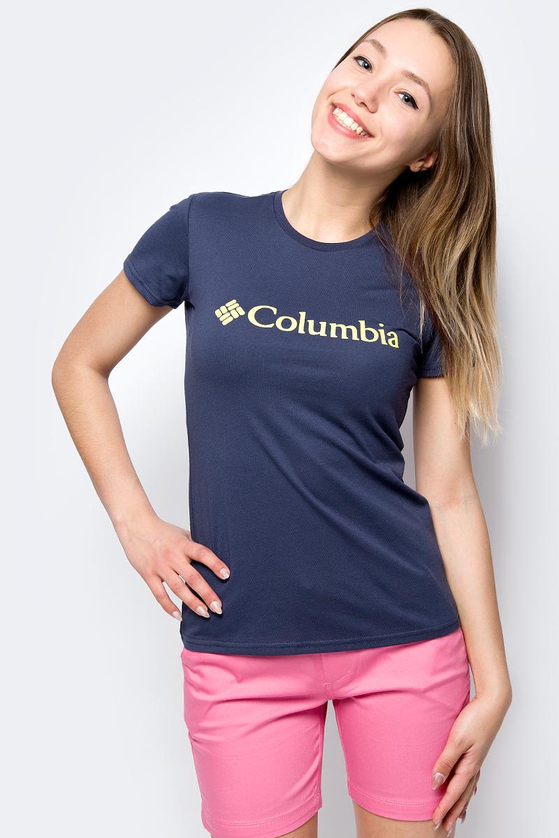 Футболка женская Columbia Urban Hike SS, цвет: темно-синий. 1770391-591. Размер L (48)