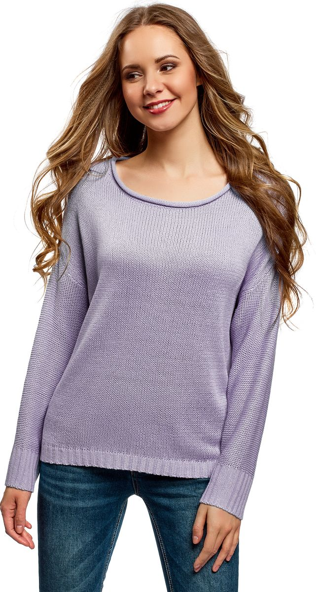 Джемпер женский oodji Ultra, цвет: сиреневый. 63805321/48100/8000N. Размер XL (50) платье oodji ultra цвет сиреневый 14017001 6b 47420 8000n размер xl 50