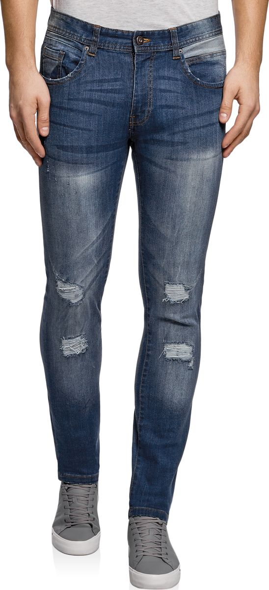 Джинсы мужские oodji Lab, цвет: синий джинс. 6L120130M/45068/7500W. Размер 33-32 (52-32)6L120130M/45068/7500WДжинсы-слим от oodji выполнены из эластичного хлопкового денима. Модель с заниженной посадкой в поясе застегивается на пуговицу, имеет ширинку на молнии и шлевки для ремня. Джинсы по бокам дополнены втачными карманами и маленьким накладным кармашком, сзади – накладными карманами. Брючины спереди декорированы рваным эффектом.