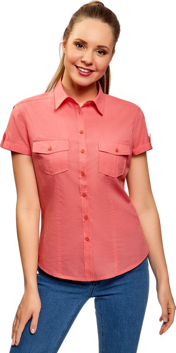 Рубашка женская oodji Ultra, цвет: коралловый. 13L02001B/45510/4300N. Размер 44 (50-170)