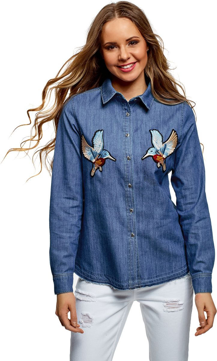 Рубашка женская oodji Ultra, цвет: синий джинс. 16A09007/47925/7500W. Размер 34 (40-170) платье oodji ultra цвет синий джинс 12909057 47408 7500w размер 44 170 50 170