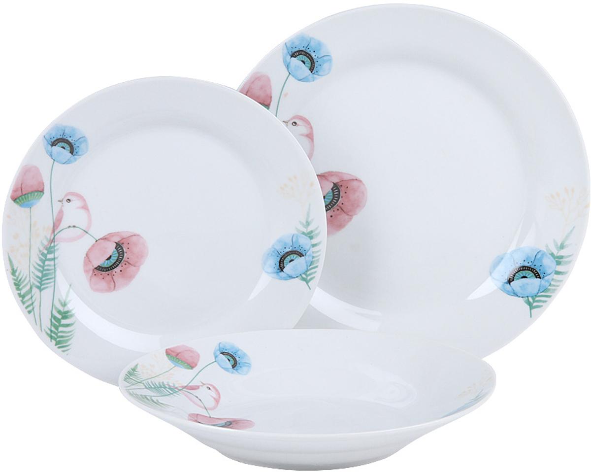 Набор столовой посуды Rosenberg RCE-100009 станет отличным дополнением для любого  стола.  Они будут просто незаменимы в тех случаях, когда к столу нужно подать обед с  десертом.  Набор состоит из 18 предметов: обеденная тарелка 23 см 6 шт, суповая  тарелка 20 см 6 шт, десертная тарелка 19 см 6 шт.  Красочные тарелки идеально  впишутся в любой праздничный интерьер, украсив его и создав атмосферу  торжественности.  Преимущества: сделаны из керамики чистый материал, не  вступающий в реакцию с пищей.  Тарелки легко очищаются от загрязнений.   Материал довольно долговечен при аккуратном и осторожном обращении.  Просты в  уходе и использовании.  Не влияют на вкус сервируемых блюд.