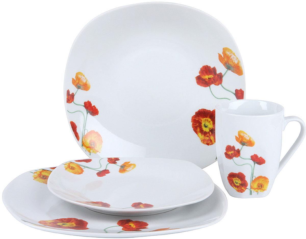 Красивая сервировка стола задает тон и настроение любому застолью, а правильное  оформление вашего стола способно превратить даже самый обычный семейный обед в  торжественный! Изящные блюда для сервировки стола, красивые тарелки, блестящие  приборы помогают создать соответствующую атмосферу и эффектно преподнести гостям  коронные блюда хозяйки.  Сервируйте обеденный стол со вкусом! Набор столовый  Rosenberg RCE-100011 это идеальное решение для красивой подачи первых и вторых  блюд, а также десертов.  Набор состоит из 16 предметов и рассчитан на 4 персоны,  поэтому в комплекте вы найдете все необходимое: обеденные и суповые тарелки,  десертные тарелки и чашки.  Сервиз отлично подойдет для повседневного  использования, но также идеально впишется в любой праздничный интерьер, украсив его  и создав атмосферу торжественности.  Столовый сервиз выполнен из качественной  керамики, которая обладает целым рядом достоинств: экологически чистая, так как при  его производстве не используются вредные примеси; химически нейтральная, поэтому не  влияет на вкус сервируемых блюд; проста в уходе и использовании; долговечна при  аккуратном и осторожном обращении; рисунок на ее поверхности надолго сохраняет свой  цвет и четкость.  Главная особенность данного столового сервиза заключается в его  великолепном дизайне, который придется по душе ценителям классического исполнения.   Гармоничное сочетание белоснежного фона и яркого цветочного рисунка придает  изделиям удивительно роскошный вид.  Сервиз станет настоящим украшением вашей  кухни.  Поместите его на видное место и вы увидите как преобразится она!
