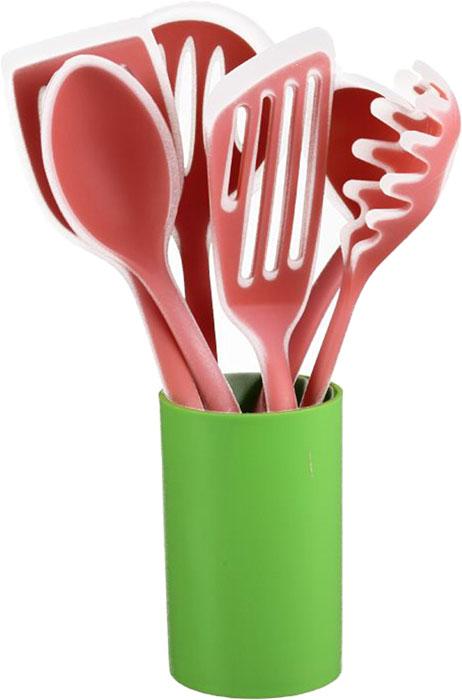 Набор кухонных принадлежностей Pomi d'Oro SET87, цвет: розовый, светло-зеленый, 7 предметов77.858@24054Набор кухонных принадлежностей Pomi d'Oro SET87 включает в себя шесть приборов: половник, поварскую ложку, шумовку, ложку для спагетти, два вида лопаток и стакан-подставку для хранения приборов.Такой набор станет настоящим помощником на кухне любой современной хозяйки.Прибора сделаны из пластика и силикона.