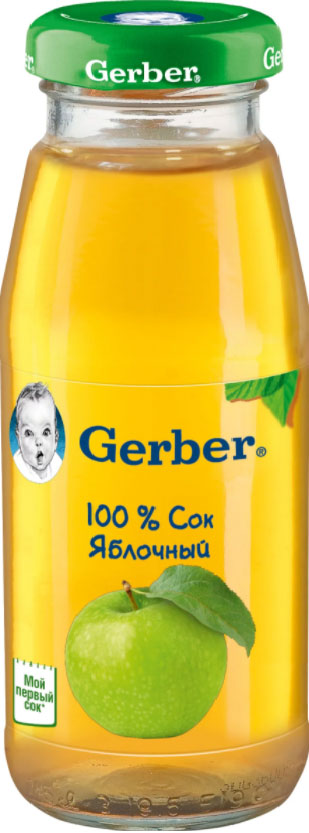 Gerber сок яблочный осветленный, 175 мл9600029Фруктовые соки – природный источник органических кислот и минералов, необходимых для здорового роста и развития. Яблочный сок Gerber изготовлен с использованием особой технологии, позволяющей сохранить натуральный вкус, цвет и запах яблок. Без добавления сахара. С витамином С. Изготовлен без использования генетически модифицированных ингредиентов, искусственных консервантов, красителей и ароматизаторов.Для принятия решения о сроках и способе введения данного продукта в рацион ребенка необходима консультация специалиста. Возрастные ограничения указаны на упаковке товаров в соответствии с законодательством РФ.Уважаемые клиенты! Обращаем ваше внимание на то, что упаковка может иметь несколько видов дизайна. Поставка осуществляется в зависимости от наличия на складе.