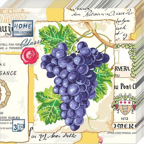 Салфетки бумажные Виноград, 3-слойные, 33 х 33 см, 20 шт скатерти и салфетки tango салфетки esta 50х50 см