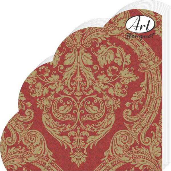 Салфетки бумажные Золотой орнамент на бордовом, 3-слойные, диаметр 32 см, 12 шт салфетки 3 х слойные katarina оптом саратов