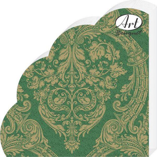 Салфетки бумажные Золотой орнамент на зеленом, 3-слойные, диаметр 32 см, 12 шт салфетки 3 х слойные katarina оптом саратов