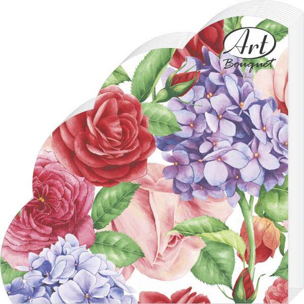 """Салфетки бумажные """"Прекрасные цветы"""", 3-слойные, диаметр 32 см, 12 шт"""