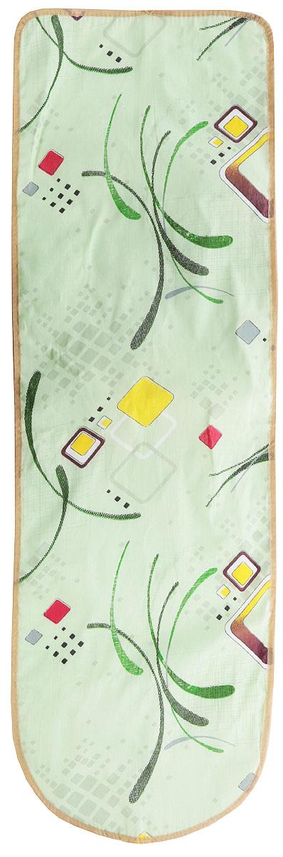 Чехол для гладильной доски Eva Узоры, с поролоном, цвет: желтый, белый, 120 х 38 см чехол для гладильной доски paterra цветы с поролоном цвет кремовый сиреневый 146 х 55 см
