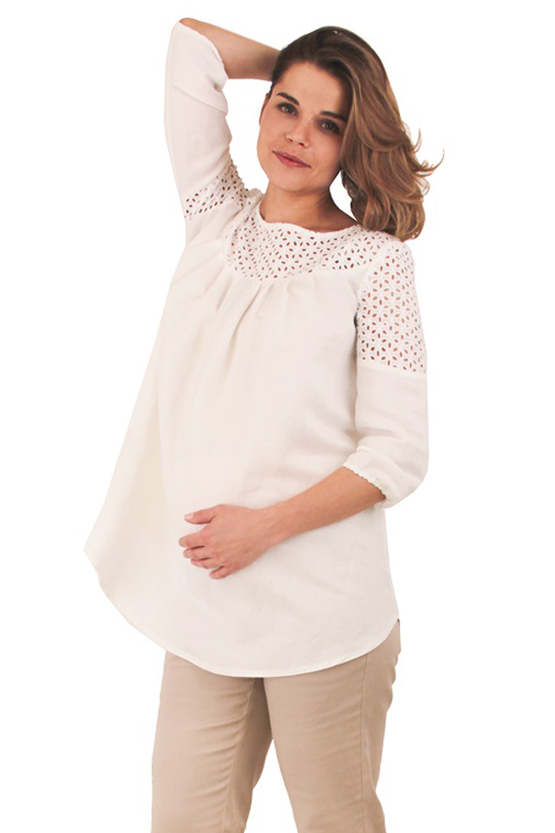 Блузка для беременных и кормящих One plus one, цвет: белый. V147081. Размер 44 ботинки pier one pier one pi021awuyi30