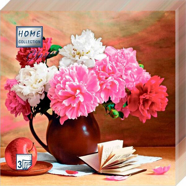 Салфетки бумажные Цветочный натюрморт, 3-слойные, 33 х 33 см, 20 шт скатерти и салфетки tango салфетки esta 50х50 см