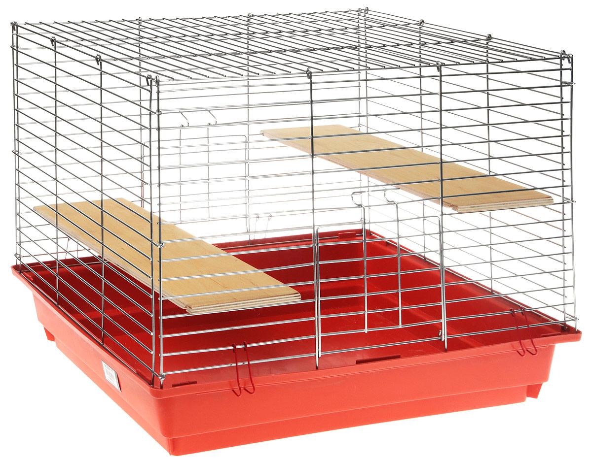 Клетка для грызунов  Велес , с полками, цвет: оранжевый, 40 х 58 х 45 см - Клетки, вольеры, будки