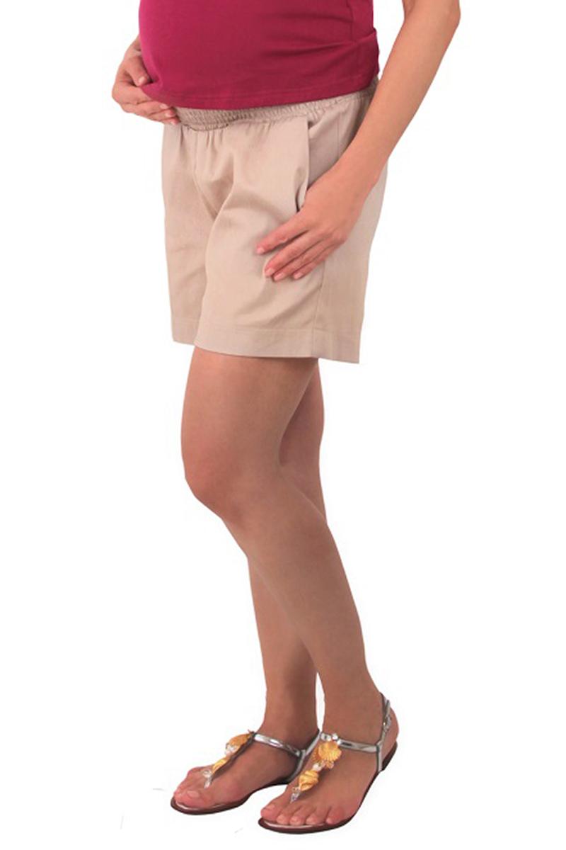 Шорты для беременных One Plus One, цвет: бежевый. V426036. Размер 50V426036Повседневные шорты от One Plus One выполнены из хлопка с добавлением спандекса. Модель с удобной эластичной резинкой на талии по бокам дополнена втачными карманами.