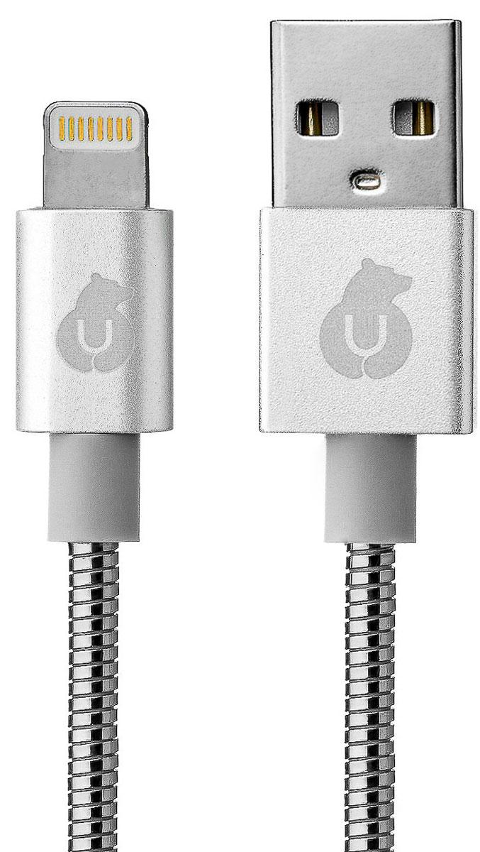 uBear DC06SL01-L, Silver кабель кабель USB-Lightning (1,2 м)DC06BL01-LuBear Metal Kevlar Cable предназначен для передачи данных и зарядки устройств Apple, с разъёмом Lightning. Суперпрочный Metal Kevlar Cable усилен изнутри волокнами Кевлар. Необычайно легкие и эластичные нити Кевлара, проходят по всей длине кабеля, придавая дополнительную прочность до 15000 сгибаний. Прочное волокно Кевлар вплетено внутрь для абсолютной износостойкости. Также изнутри кабель оснащен изолированными проводниками, которые уменьшают трение, увеличивает гибкость и безопасность, и защитной оплеткой из луженой меди, придающей жесткость конструкции. Стальная оплетка защищает кабель от внешних механических повреждений и отлично сочетается с любым цветом смартфонов Apple. Metal Kevlar Cable от uBear - технологичность, строгость линий и качество в каждом элементе. Кевлар применяется для усиления альпинистских тросов, рыболовных лесок, кабелей. Способен остановить пулю, используется в бронежилетах