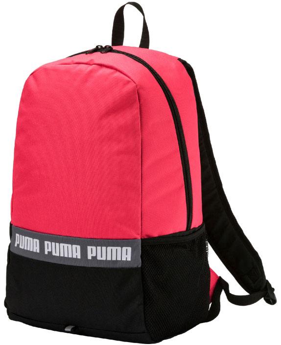 Рюкзак женский Puma Phase Backpack II, 25 л07510603Рюкзак имеет главное отделение на молнии, застегивающейся с двух сторон, функциональную подкладку из полиэстера плотностью 150D с изнанкой из полиуретана, отделение для ноутбука с мягкой подложкой внутри главного отделения, сетчатый карман сбоку справа, закругленные лямки регулируемой длины с мягкой подложкой и с петлей из светоотражающего материала, декорированной символикой Puma, а также ручку для переноски из лямочной ленты. Обращенная к спине часть рюкзака прострочена и снабжена мягкой подкладкой. Символика Puma присутствует на металлических язычках застежек-молний, а также в виде набивной надписи Puma спереди. Также спереди рюкзак декорирован петлей из светоотражающего материала.