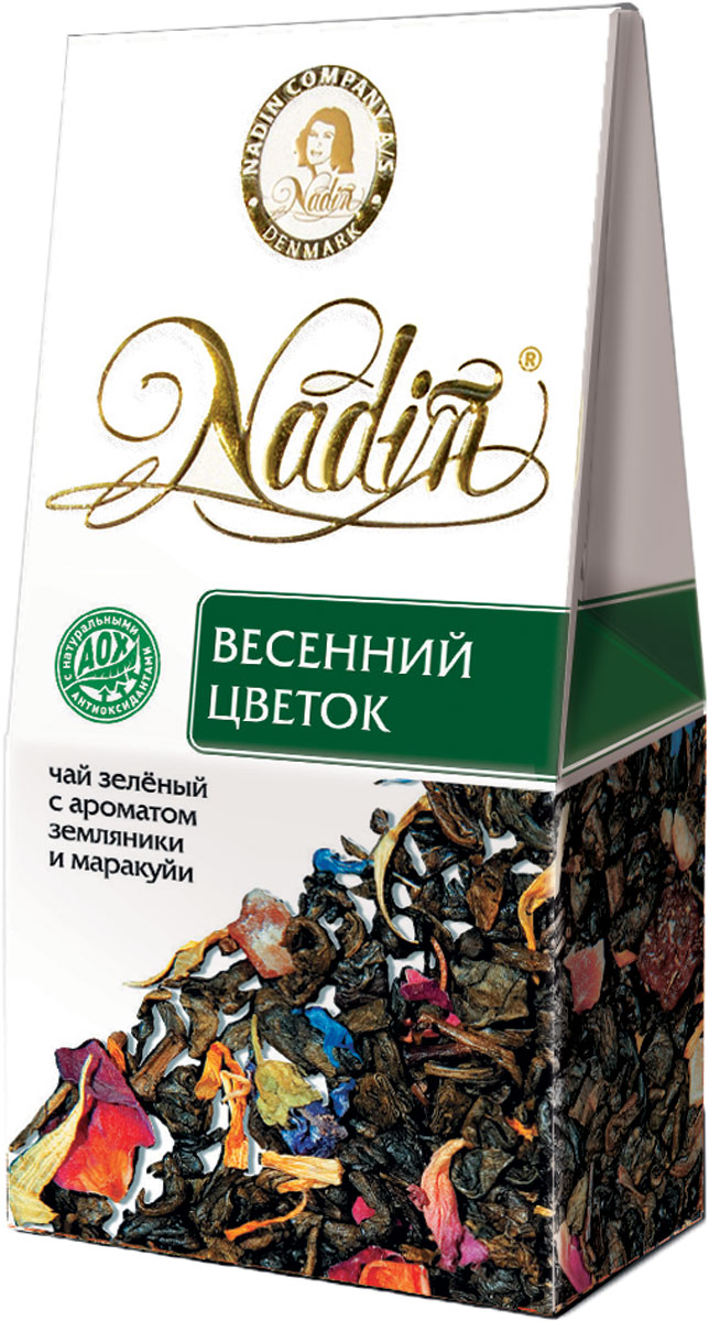 Nadin Весенний цветок чай зеленый листовой, 50 г greenfield garnet oolong зеленый чай в алюминиевых капсулах с ароматом граната и лепестками василька 10 шт по 2 5 г