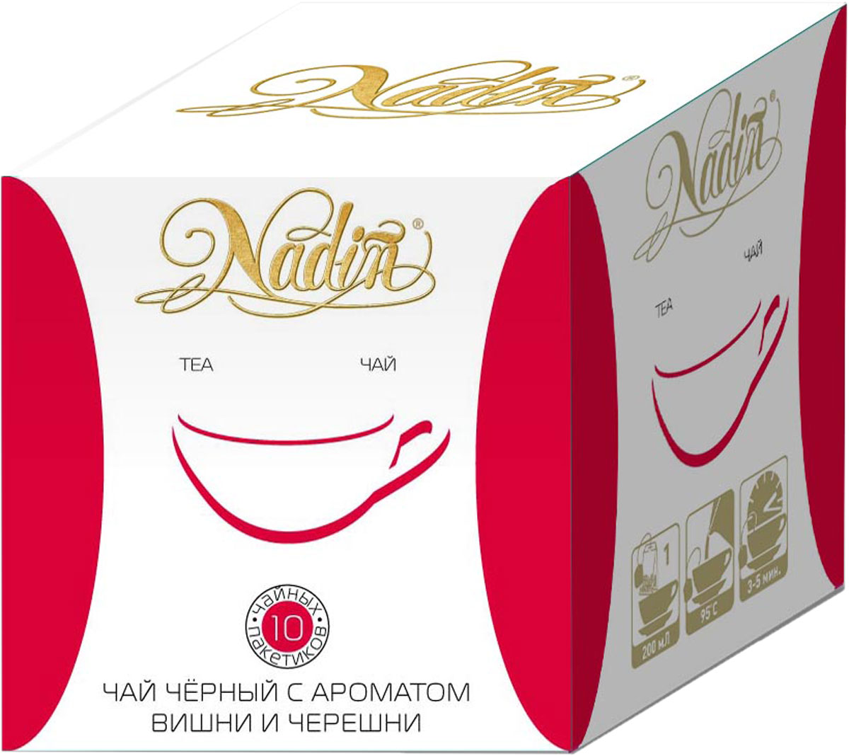 Nadin Вишня-Черешня чай черный пакетированный, 10 шт nadin лимон мята чай черный пакетированный 10 шт