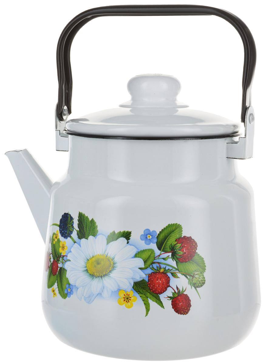 Чайник Эмаль Земляника, цвет: белый, 3,5 л