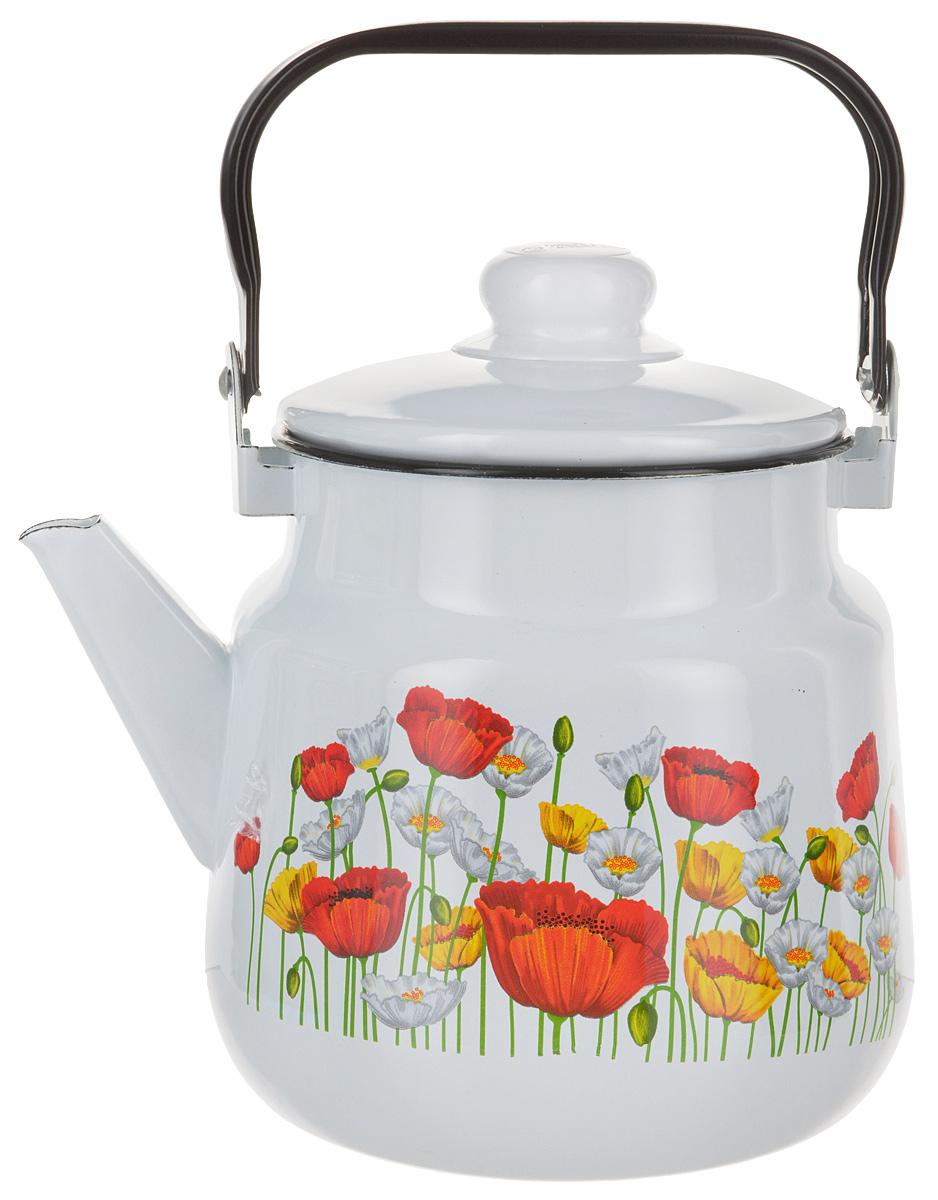 Чайник Эмаль Маки, цвет: белый, 3,5 л
