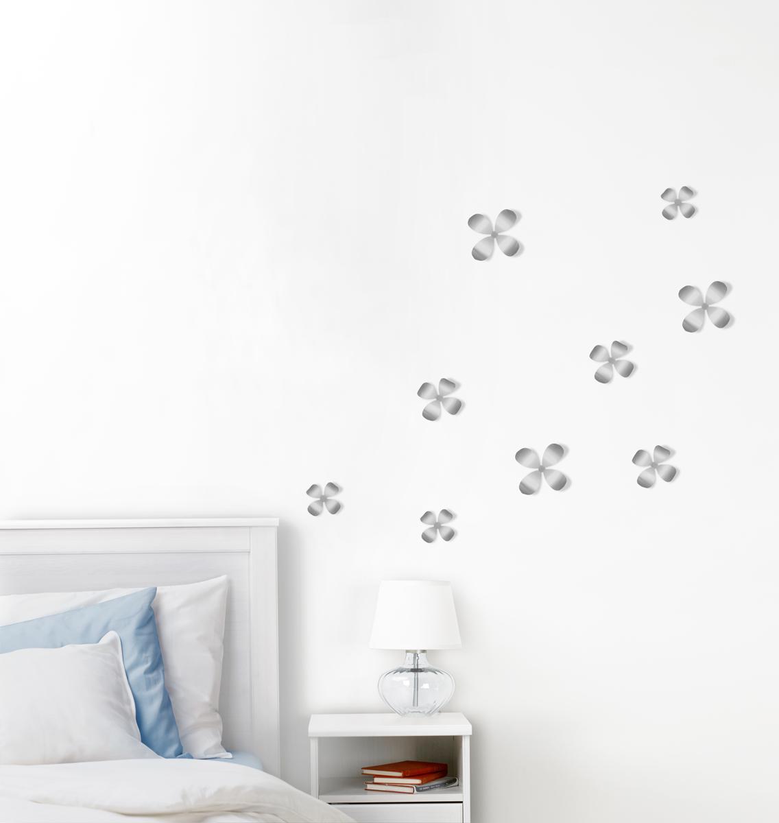 Декор для стен Umbra Wallflower, цвет: никель, 9 элементов стакан для ванной umbra droplet цвет дымчатый 9 3 х 9 6 х 9 6 см