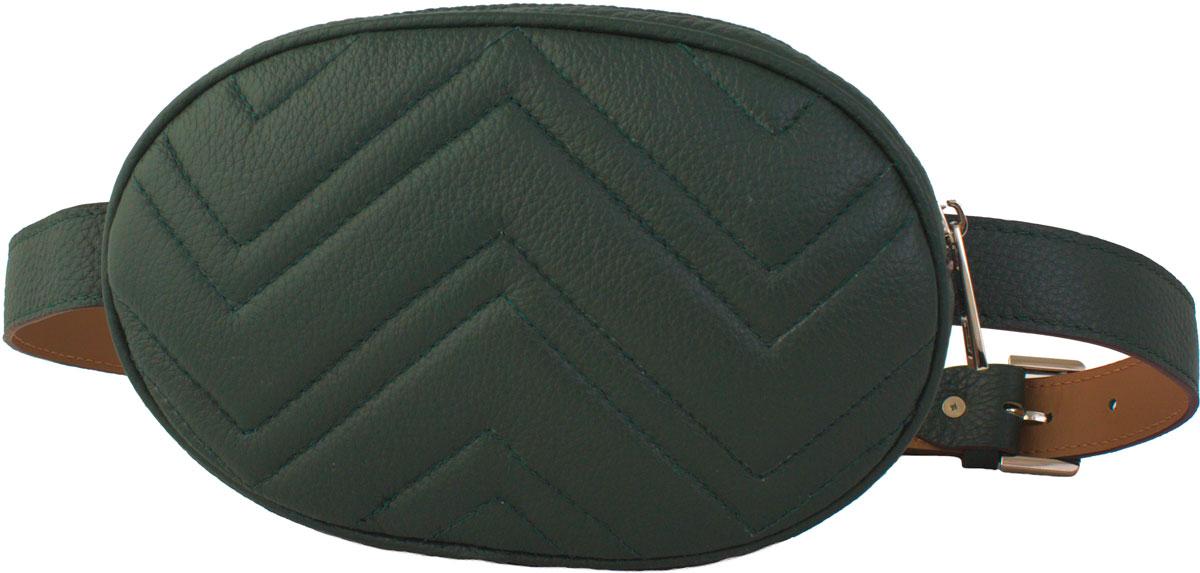 Сумка кросс-боди женская Dimanche Регби, цвет: зеленый. 231/60231/60Модная сумочка на ремне, можно носить как на поясе, так и через плечо, крепится на ремень через шлевки, что позволяет использовать ремень как самостоятельный аксессуар. Состоит из одного отделения на молнии, внутри карман. Длина ремня до 95 см. Есть возможность регулировки по длине.