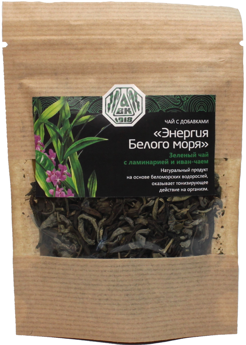 Архангельский водорослевый комбинат Энергия Белого моря чай зеленый с ламинарией и иван-чаем, 20 г00-00003823Благодаря высокому содержанию витаминов и тианина восстанавливает нервную систему и улучшает общий жизненный тонус. Ароматный и полезный напиток. Прекрасно утоляет жажду