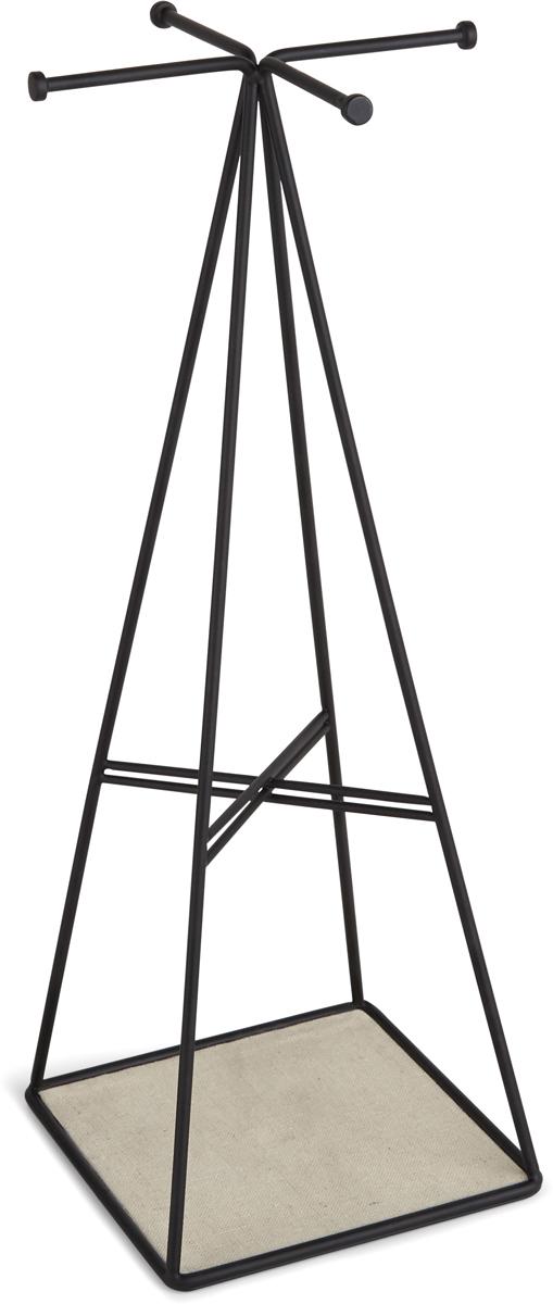 Органайзер для украшений Umbra Prisma, высокий, цвет: черный299485-040Аксессуар из коллекции Prisma — «визитной карточки» Umbra. Вешалки в верхней части органайзера предназначены для браслетов или ожерелий. Перемычка посередине удобна для подвешивания сережек. Основание подойдет для хранения мелочей.Дизайн: Sung wook Park.