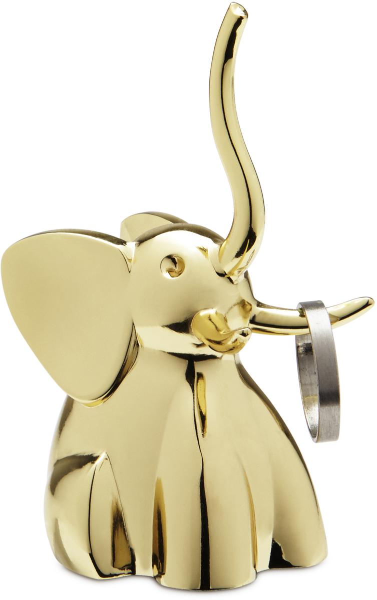 Подставка для колец Umbra Zoola. Слон, цвет: латунь299224-104Пополнение в серии ZOOLA — коллекции небольших фигурных держателей для колец. Хобот и бивни латунного слона служат в качестве вешалок для колец и перстней. Красивый и функциональный сувенир!Дизайн: Umbra Studio