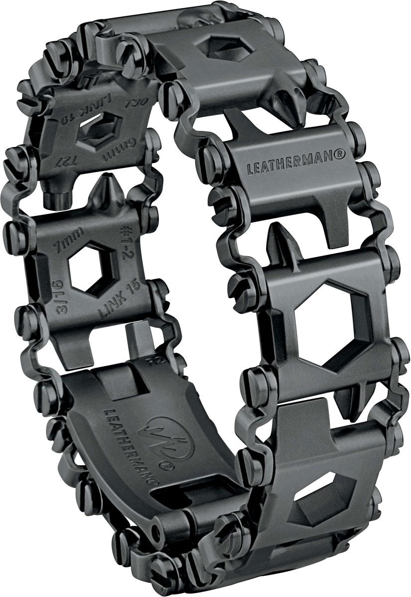 Браслет Leatherman Tread LT, цвет: черный832432Узкий браслет с 29 опциями: 9 отверток, 3 отвертки Philips, 4 шестигранника, 8 накидных ключей, ? адаптер, карбидовое острие для разбивания стекла, крючок для резки веревок, открывалка для бутылок и банок, микрофомка, материал - нержавеющая сталь 17-4, вес 156 г, ширина звена 1,8 cм, длина 21,74 см.