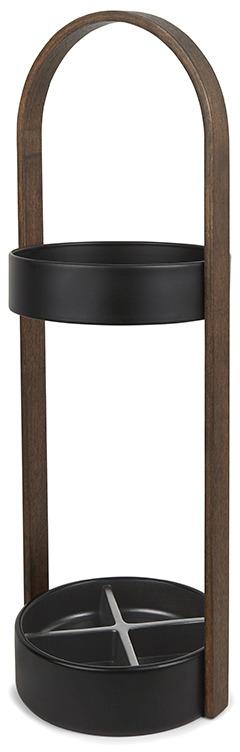 """Необычная подставка для зонтов Umbra """"Hub"""" - функциональный и стильный элемент интерьера. Имеет ручку, обеспечивающую мобильность, а также дно, которое надёжно защитит пол от влаги. По словам дизайнера, он задумал сделать подставку для зонтов, которая будет выглядеть так же стильно, как вся мебель в его доме. Внутри верхнего стального кольца два крючка для складных зонтов. Дно поделено на секции, рассчитанные на 4 зонта-трости.  Дизайн: Jordan Murphy."""