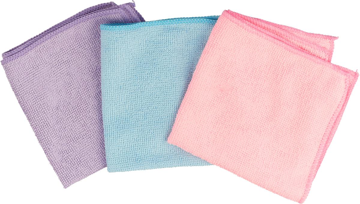 Набор салфеток для уборки Sol, из микрофибры, цвет: сиреневый, голубой, розовый, 30 x 30 см, 3 шт solo farfalle сумка