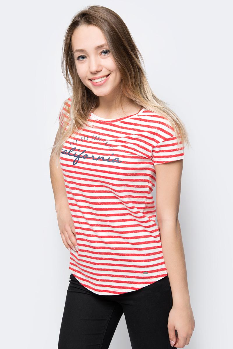 Футболка женская ONeill Lw Stripe Script T-Shirt, цвет: красный, белый. 8A7323-1940. Размер S (44/46)8A7323-1940Футболка от ONeill выполнена из полиэстера с добавлением хлопка. Модель с короткими рукавами и круглым вырезом горловины оформлена принтом в полоску.