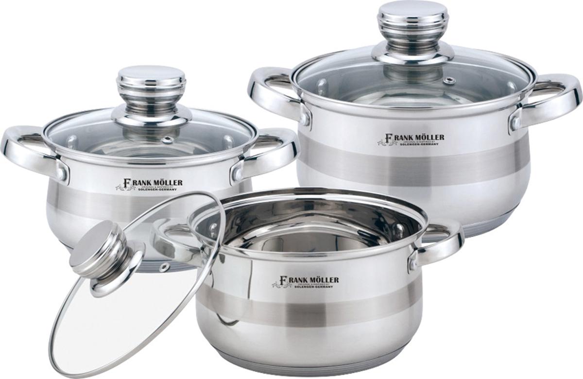 Набор посуды из нержавеющей стали: кастрюля с крышкой 3,7 л. (20*12 см), кастрюля с крышкой 2,7 л. (18*11 см), кастрюля с крышкой 2 л. (16*10 см). Подходят для всех видов плит.