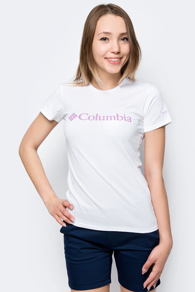Футболка женская Columbia Urban Hike SS, цвет: белый. 1770391-100. Размер XS (42)1770391-100Женская футболка Columbia Urban Hike SS прекрасно подойдет как для активного отдыха и спорта, так и для повседневного использования в городе. Мягкий и приятный к телу хлопок обеспечит комфорт, а полиэстер - износостойкость.