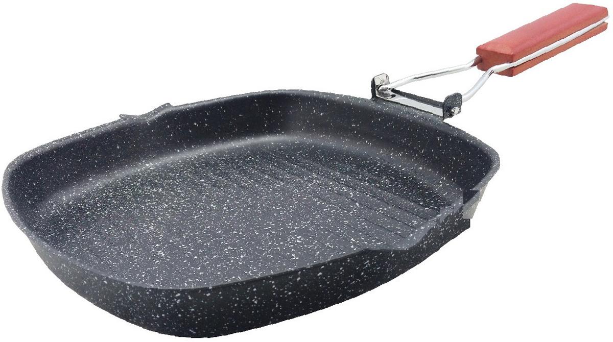 """Сковорода-гриль """"Mercury"""" изготовлена из углеродистой стали высокого качества. Рифленое дно.  Мраморное антипригарное покрытие. Деревянная складная ручка. Подходит для всех видов плит.  Диаметр: 24 см."""