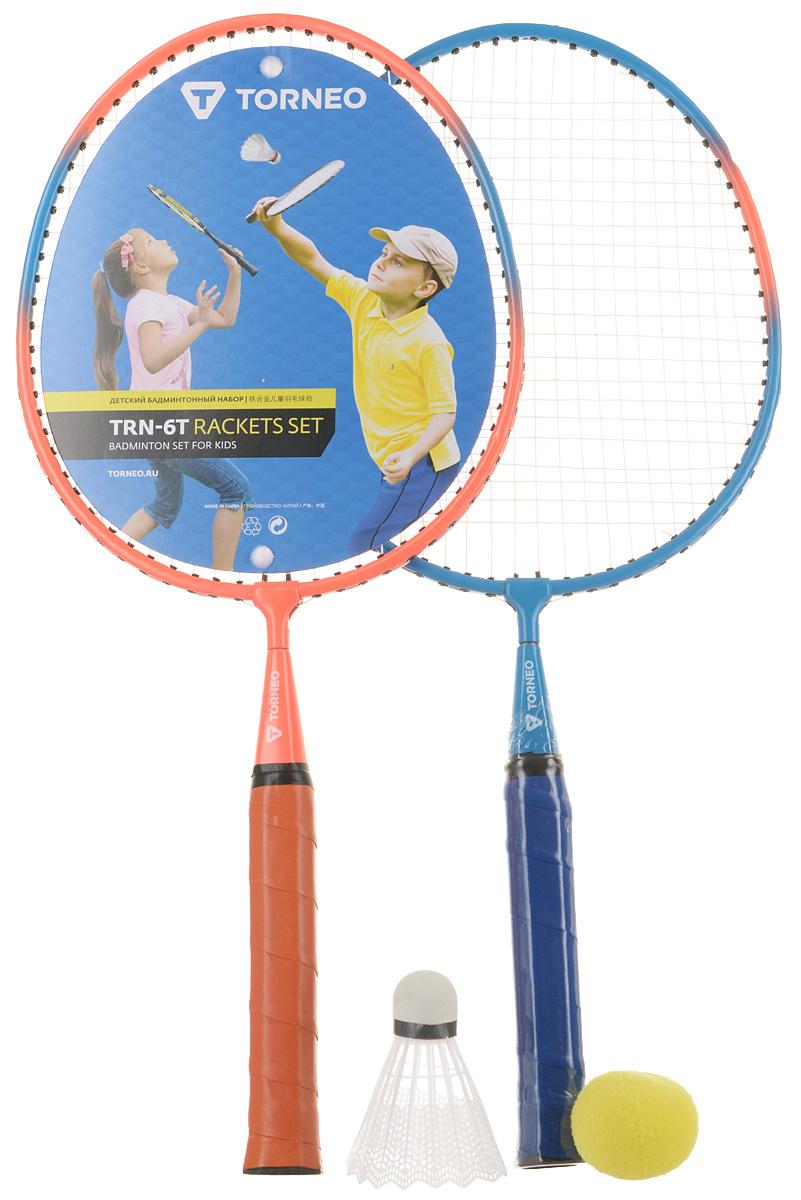 Набор для бадминтона Torneo, детский, цвет: оранжевый, синий, 4 предмета набор для бадминтона wish fusiontec 799k цвет синий