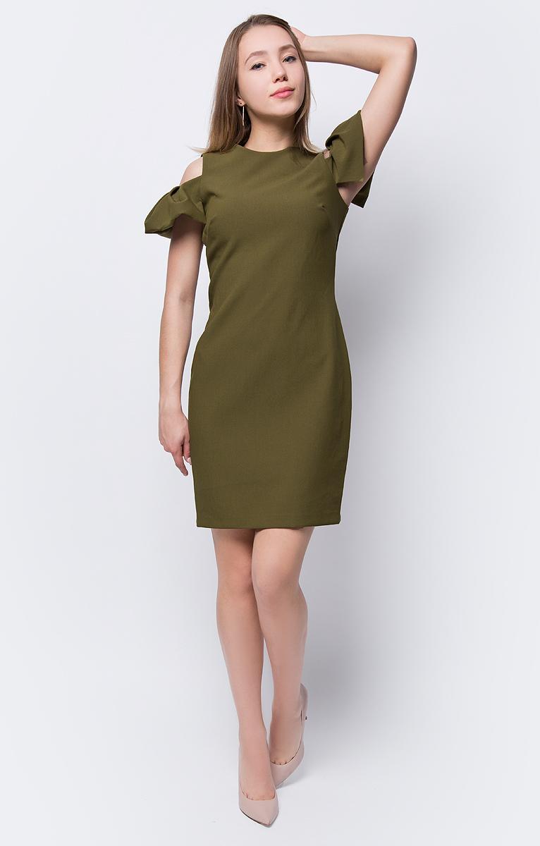 Платье adL, цвет: зеленый. 12433667001_034. Размер M (44/46)12433667001_034Стильное платье-футляр от adL выполнено из комбинированного материала. Модель приталенного силуэта с круглым вырезом горловины и короткими рукавами. Изюминка платья - открытые плечи. На спинке изделие застегивается на потайную молнию.
