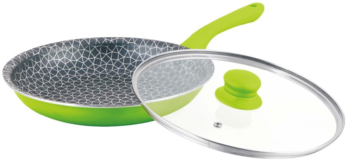 Сковорода Mercury, с крышкой, цвет: зеленый. Диаметр 26 см. MC-6266MC-6266 зеленаяАнтипригарное покрытие. Жаростойкое внешнее покрытие. Материал: алюминий. Удобная эргономичная ручка.Подходит для всех видов плит. Размер: 26х5 см.Диаметр: 26 см.