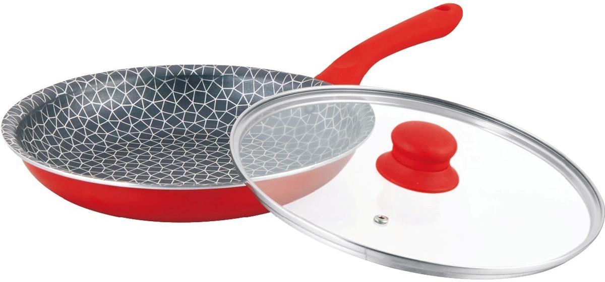 Сковорода Mercury, с крышкой, цвет: красный. Диаметр 26 см. MC-6243MC-6243 краснаяАнтипригарное покрытие. Жаростойкое внешнее покрытие. Материал: алюминий. Удобная эргономичная ручка. Подходит для всех видов плит. Размер: 26х5 см. Диаметр: 26 см.