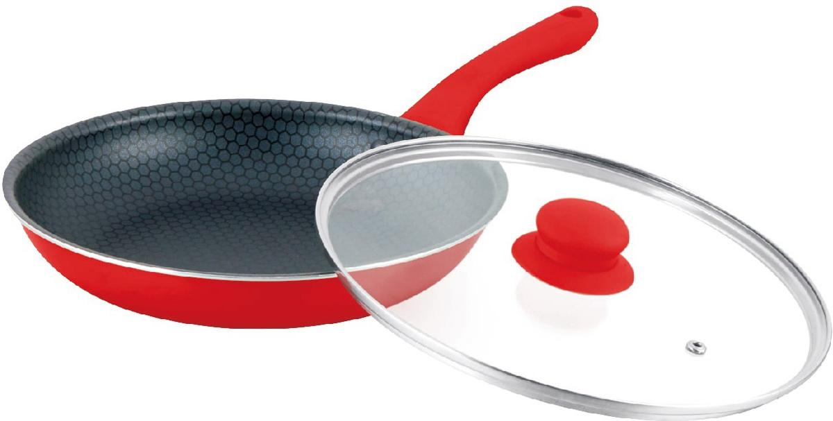 Сковорода Mercury, с крышкой, цвет: красный. Диаметр 26 см. MC-6246MC-6246 краснаяАнтипригарное покрытие. Жаростойкое внешнее покрытие. Материал: алюминий. Удобная эргономичная ручка.Подходит для всех видов плит. Размер: 26х5 см.Диаметр: 26 см.