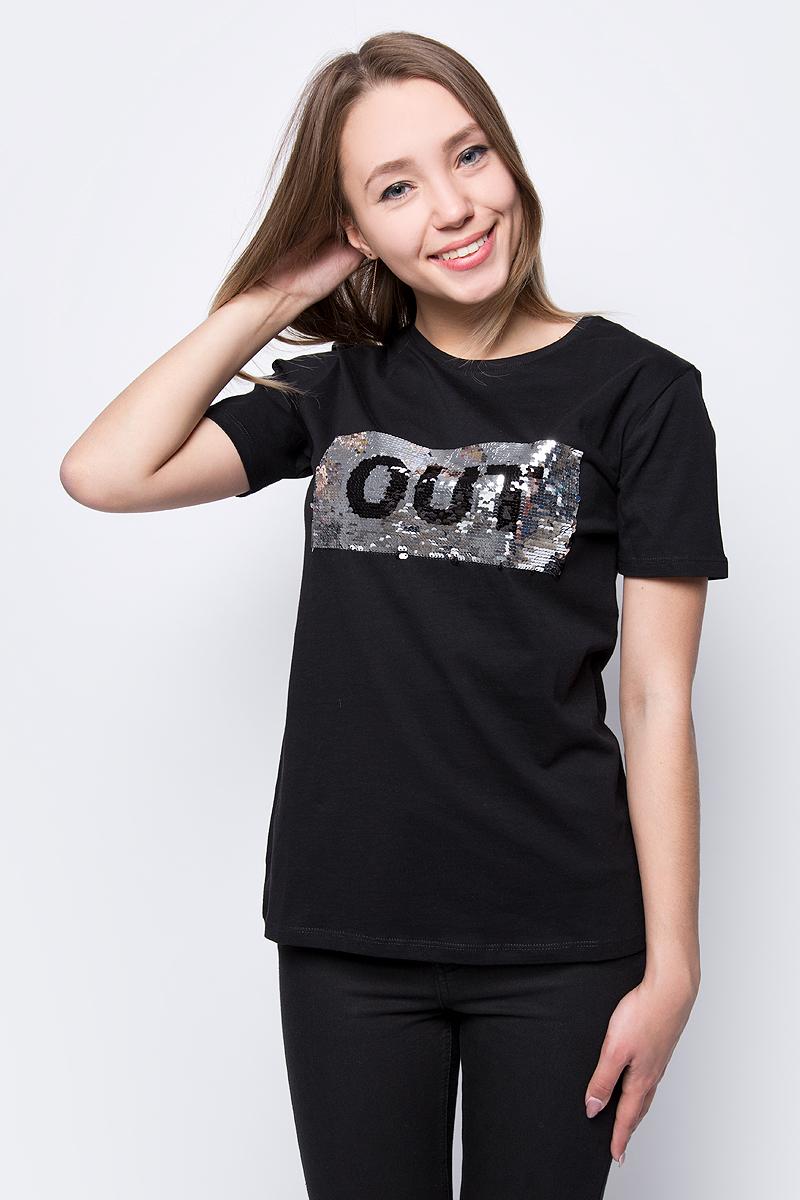 Футболка женская adL, цвет: черный. 17532987001_001. Размер XS (40/42) футболка женская adl цвет черный 17532987001 001 размер xs 40 42
