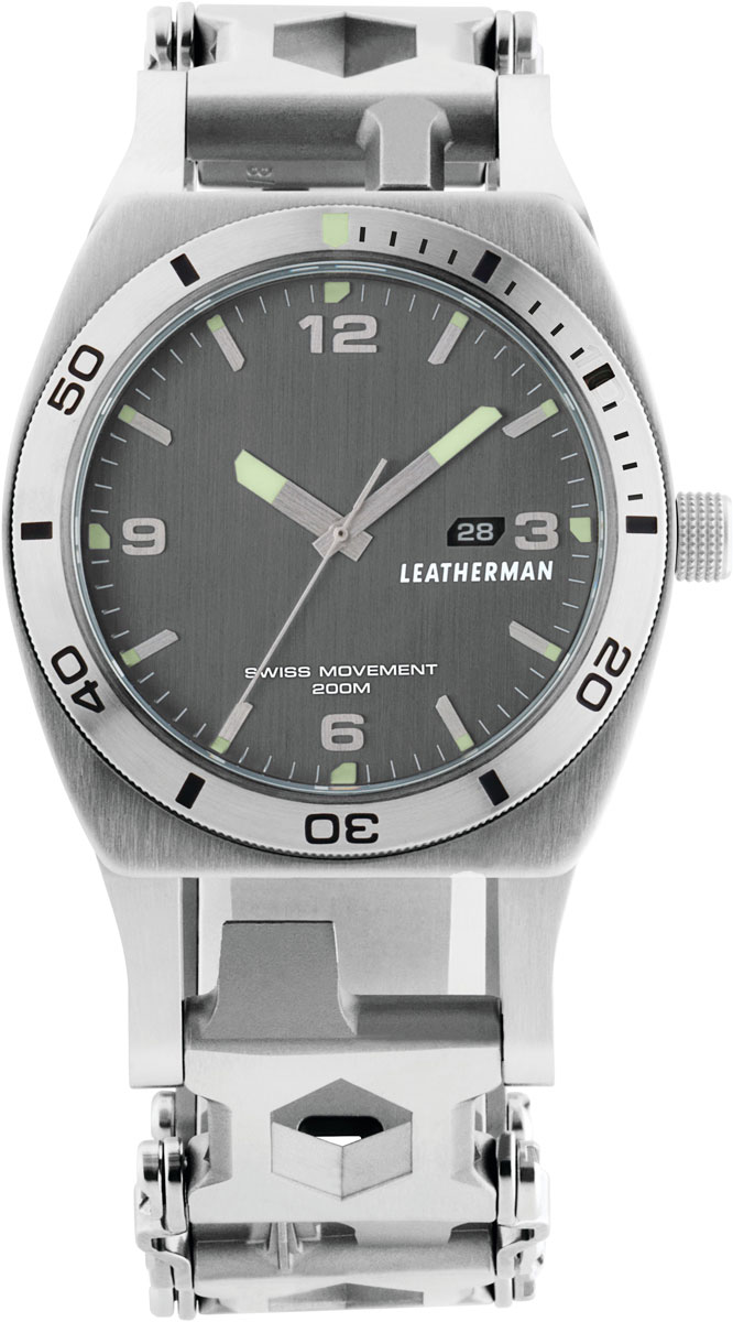 Первый в мире мультитул с часами. Регулируемый браслет Tread и часы с швейцарским механизмом. Кварцевые часы с сапфировым стеклом, швейцарский механизм, корпус нержавеющая сталь, водозащищенные до 200 м, люминесцентное покрытие стрелок, габаритные размеры 46 мм. В браслете 30 опций: 9 отверток, 3 отвертки Philips, 4 шестигранника, 8 накидных ключей, адаптер, карбидовое острие для разбивания стекла, крючок для резки веревок, открывалка для бутылок и банок, микрофомка, лезвие. Материал - нержавеющая сталь 17-4, вес 272 г, ширина звена 2,8 cм, цвет - металлик.