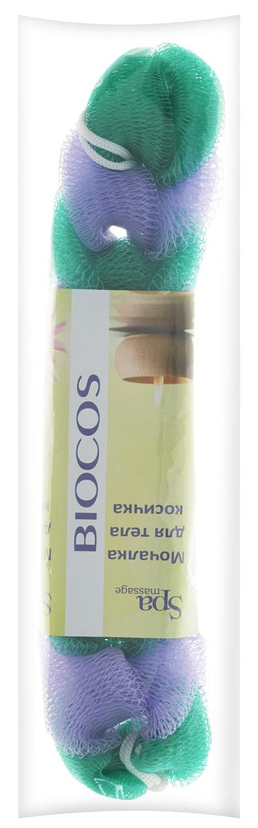 BioCos Мочалка для тела Косичка, цвет: зеленый, сиреневый5955_зеленый, сиреневый