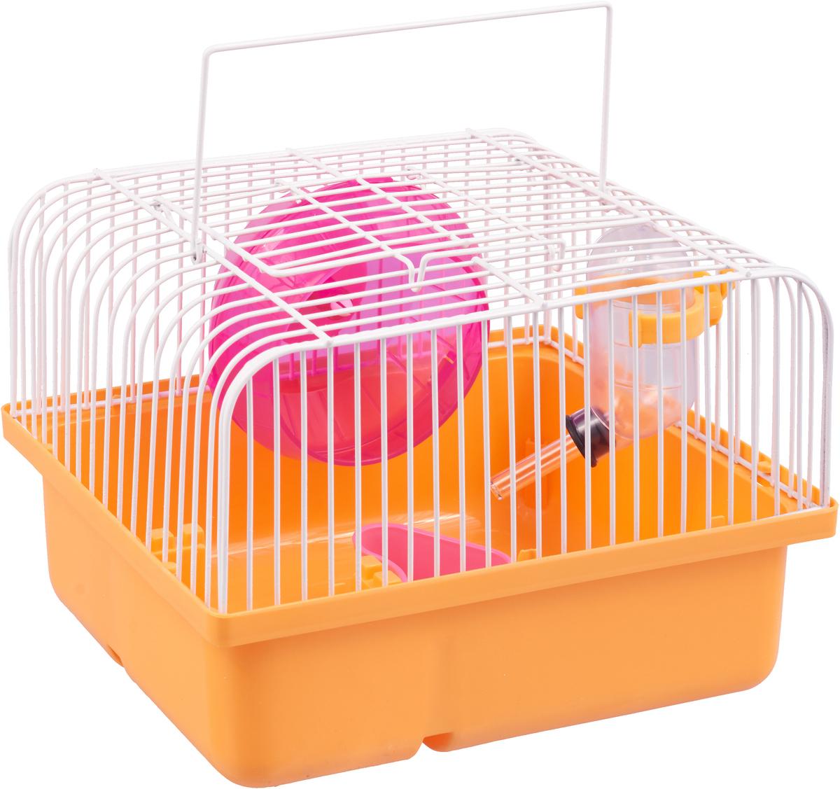 Переноска-клетка для мелких грызунов №1, цвет: оранжевый, 24 х 18 х 14 см
