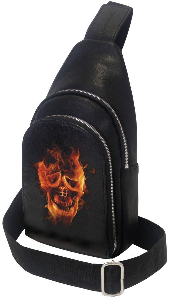 Рюкзак мужской Cross Case, цвет: черный. MB-3046-12 BlackMB-3046-12 BlackМини-рюкзак Cross Case с рисунком череп имеет одно основное отделение на молнии 22 х 16 см, внутренний карман 15 х 14 см. Наружный карман на молнии 14 х 20,5 см, одну наплечную лямку для переноски. Удобный и стильный однолямочный мини-рюкзак изготовлен из мягкой экокожи, на вид и на ощупь практически не отличимой от натуральной кожи. Хромированная стальная фурнитура гарантирует надежность и прочность застежек и креплений, а также придает мини-рюкзаку элегантный вид. Рисунок на рюкзаке нанесен по специальной нанотехнологии краской, устойчивой к истиранию и воздействиям окружающей среды.